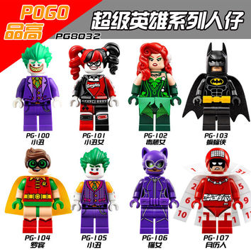 Single Super Heroes DIY Blocks Harley Quinn Joker Batman Catwoman Robin Poison Ivy Calendar of People Blocks Toys