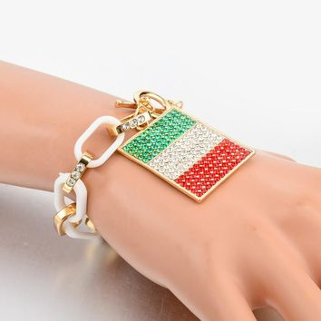 Italy/US Flag Charms Bracelets For Women Gold Color Chain Bangles