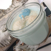Bora Bora scented Soy Candle - Hand Poured - Beach Themed Soy Candle -- 8 ounce Jar