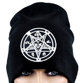 9c4ea5b2cd2 Sabbatic Goat Head Baphomet Inverted Pentagram Beanie Knit Cap Occult