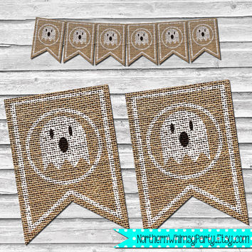 Halloween Ghost Burlap Banner – DIY Printable Home Decor –  Halloween Party Decoration – Stamped Burlap Banner - INSTANT DOWNLOAD