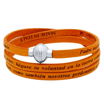 ZDW1002-ORG  ORANGE PADRE NUESTRO (LORD'S PRAYER) ENGRAVED LEATHER WRAP BRACELET