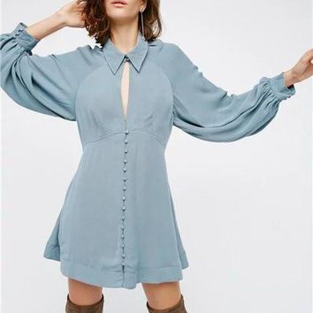 Free People Solid Color Simple Fashion Hollow Ruffle Long Sleeve Mini Dress