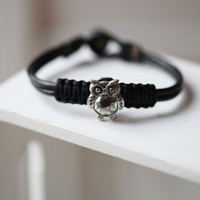 OWL Bracelet  - Cute OWL On Black Leather - Silver OWL Bracelet