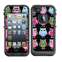 Skins Kit for Lifeproof iPhone 5 Case (skins/decals only) - Cute Owls Owl pattern Print Pink Green
