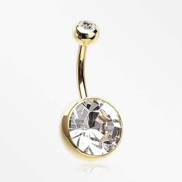 Golden Grand Sparkle Gem Ball Basic Belly Button Ring