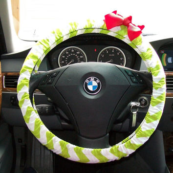 Lime Green and White Chevron Steering Wheel Cover