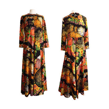 1970s Maxi Dress | Vintage Psychedelic Black Floral Print Fall Colors Spiral Web Hostess 70s Evening Party
