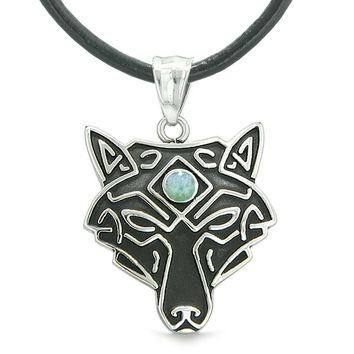 Celtic Wolf All Seeing Third Wisdom Eye Magic Protection Amulet Green Quartz Pendant Leather Necklace