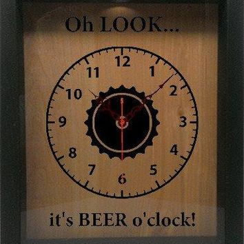 "Shadow Box Clock Wine Cork/Bottle Cap Holder 9""x11"" - Oh Look It's Beer O'clock"