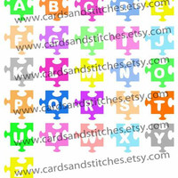 Monograms Puzzle Pieces Digital Cutting File (SVG, DXF, JPG)