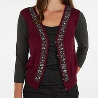 BKE Boutique Jeweled Cardigan Sweater