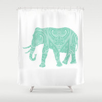 Mandala Elephant Shower Curtain Mint Lucite Green  Boho bohemian India Indian Apartment Home Bath Room Unique Decor