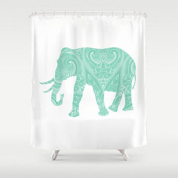 mandala elephant shower curtain mint lucite green boho bohemian india indian apartment home bath room unique