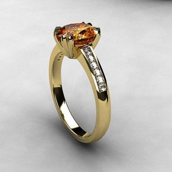 1.98ct Imperial topaz engagement ring, brown topaz, diamond engagement ring, oval cut, white gold, yellow gold, unique