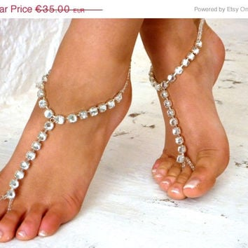 PROMO SALE Barefoot Sandal Silver Foot Jewelry Anklet Bridesmaids. crystal anklet,  bride shoes, wedding shoes, crystal barefoot sandal