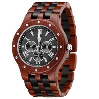 MEKU Men's Handmade Wooden Wrist Watch Natural Wood Watch Valentine Gift Black