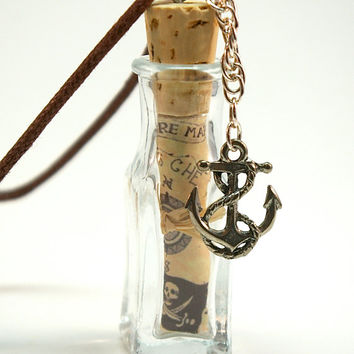 Treasure Map Pendant- Mini Bottle with Pirate Treasure Map, Anchor Charm