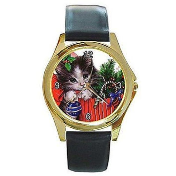 Christmas Kitten Gift Bag on a Womens or Girls Gold Tone Watch with Leather Band