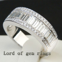Baguette/Round Diamond  Wedding Band Engagement Ring 18K White Gold- 3.22ctw