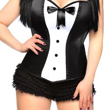 Charming White&Black Lace Up Overbust Corset