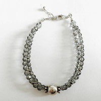 Vintage Sparkling Faceted Gray Swarovski Crystal Two Strand Bracelet with center Sterling Silver Ball Accent