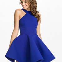 Blue Halter Sleeveless Skater Dress