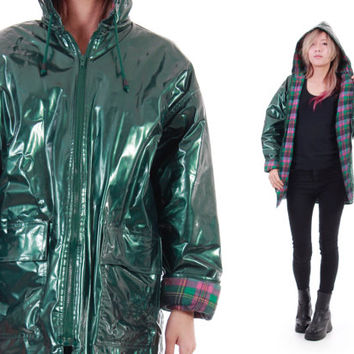 Green Metallic PVC Raincoat Wippette Forest Green Shiny Wet Look Club Kid Hipster Hooded Winter Outerwear Womens Size Medium Large