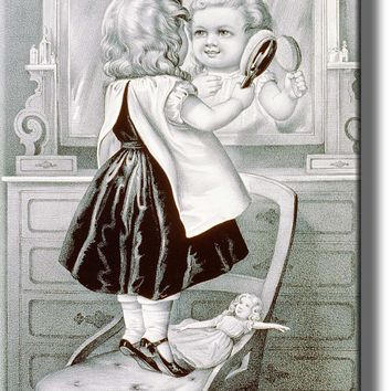 Girl Brushing Hair Vintage Picture Made on Acrylic Wall Art Decor Ready to Hang!.