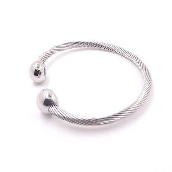Designer Inspired Cable Wire Stainless Steel Bangle Bracelet 8""
