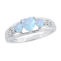 Created Opal Heart Sterling Silver Diamond Accent Birthstone Ring -...