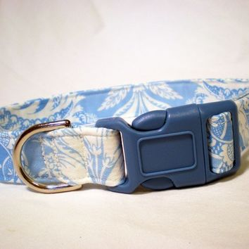 Dog Collar Blue Scroll Fabric from PinkysPetGear on Etsy