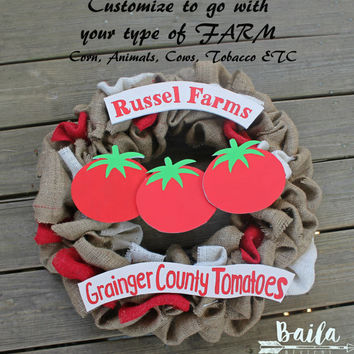 burlap wreath,gift for farmer, unique wreaths, farmers market sign, farmhouse decor, farmhouse, farm business, tomato farm, animal farm