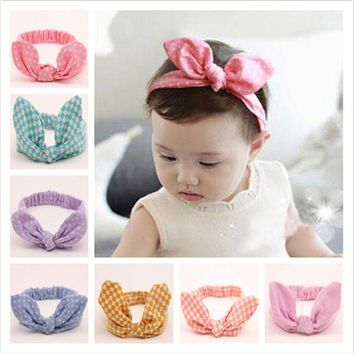 WENDYWU Kids Stretch Polka Dot Ear Bow Headband Cute Striped Fabric Rabbit Head Wraps For Girl