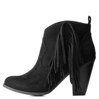 Black Chunky Heel Fringe Ankle Booties by Charlotte Russe