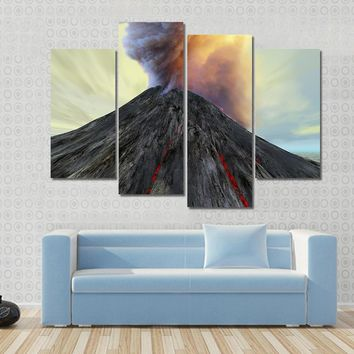 An Active Volcano Belches Smoke And Ash Into The Sky Multi Panel Canvas Wall Art