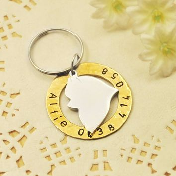 Personalized Pomeranian Dog Tag, Hand Stamped Dog Tag, Customized Name & Phone number, Pet Jewelry, Your Dog ID tag