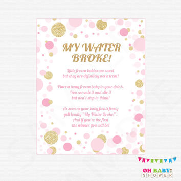 Pink and Gold Baby Shower Games, My Water Broke Baby Shower Game, Girl Baby Shower, Frozen Babies Game, Baby Printables, Download, CB0003-PG
