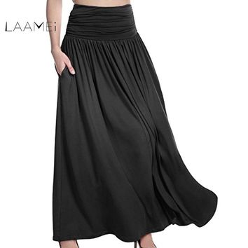 Laamei Autumn Bohemian Pleated Maxi Skirts Women Summer Solid Color High Waist Chiffon Long Skirt Elegant Ladies A Line Skirts