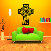 Celtic cross cros Cheltiagh Welsh Geltaidd Cornish krows keltek Breton geltek Insular art  with a nimbus Ireland Decor Sticker Decal 3040