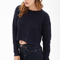 FOREVER 21 Cropped Waffle Knit Sweater