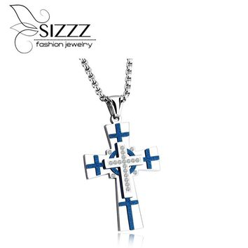 SIZZZ 2017 New Europe and the United States style titanium steel cross pendant frosted men 's necklace