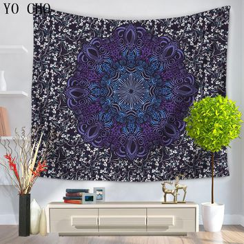 YO CHO Bohemian Wall Hanging Beach Throw Rug Blanket Camping Tent Travel Mattress Sleeping Pad Lotus Flower Mandala Tapestry