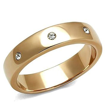 WildKlass Stainless Steel Ring IP Rose Gold(Ion Plating) Women Top Grade Crystal Clear