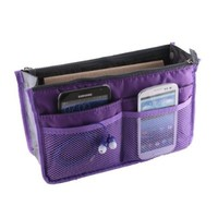 Zcargel Colorful Women Travel Insert Handbag Organiser Purse Large Liner Organizer (Purple)