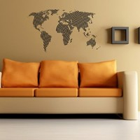 World Map Wall Vinyl Decal Art Sticker Home Modern Stylish Interior Decor for Any Room Smooth and Flat Surfaces Housewares Murals Graphic Bedroom Living Room (2513)