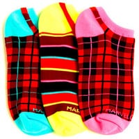 Smelly Marvelous Plaid With Neon Liner Socks