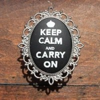 Drawer Knob Keep Calm and Carry on in Black