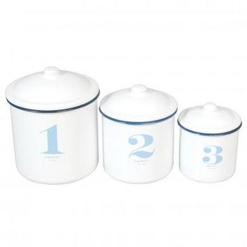Set Of 3 Stacking Enamel Storage Containers