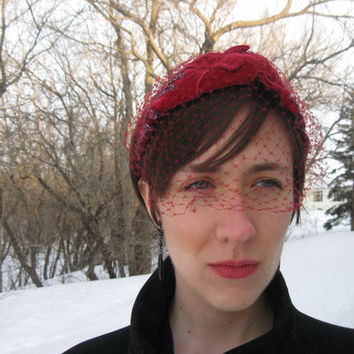 SOLD! Ruby Red Cocktail Hat with Veil